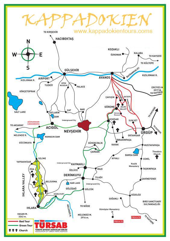 Karte Türkei Kappadokien.Tägliche Tour In Kappadokien Kappadokien Tours Turkei